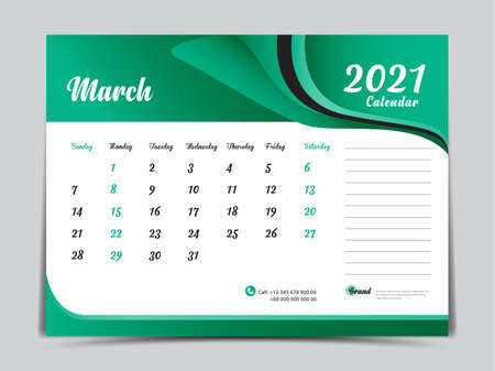 Desk Calendar 2021 template creative design, March 2021 month, Simple, planner, Week starts from Sunday. Illustration