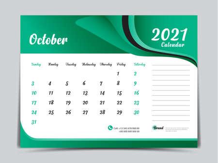 Desk Calendar 2021 template creative design, October 2021 month, Simple, planner, Week starts from Sunday.