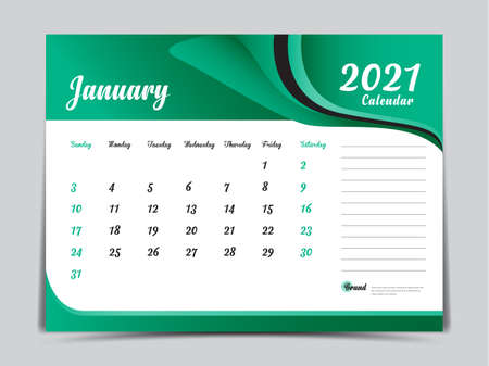 Desk Calendar 2021 template creative design, January 2021 month, Simple, planner, Week starts from Sunday. Illustration