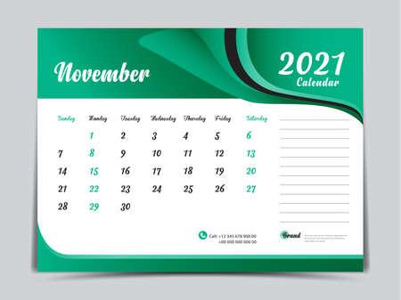 Desk Calendar 2021 template creative design, November 2021 month, Simple, planner, Week starts from Sunday. Illustration