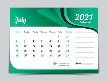 Desk Calendar 2021 template creative design, July 2021 month, Simple, planner, Week starts from Sunday. Illustration