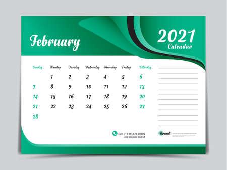 Desk Calendar 2021 template creative design, February 2021 month, Simple, planner, Week starts from Sunday. Illustration