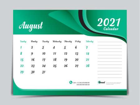 Desk Calendar 2021 template creative design, August 2021 month, Simple, planner, Week starts from Sunday. Illustration