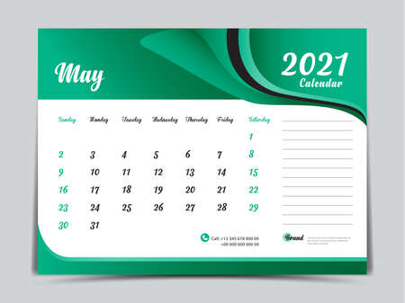 Desk Calendar 2021 template creative design, May 2021 month, Simple, planner, Week starts from Sunday.