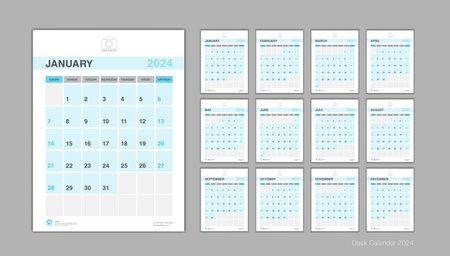 Calendar 2024 template Vector Illustration