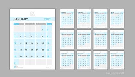 Calendar 2021 template Vector