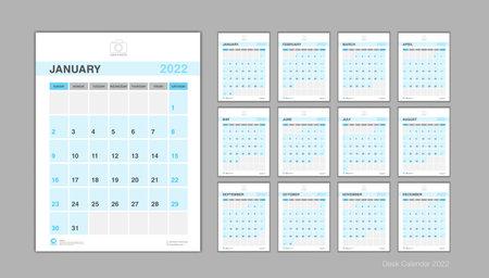 Calendar 2022 template Vector