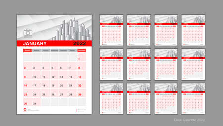 Desk calendar 2022 template set