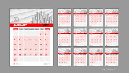 Desk calendar 2021 template set, Week Start On Sunday, Planner, Stationery, Printing, vertical artwork, red background Illustration