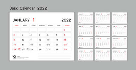 Set Desk Calendar 2022 template Vector, Week Start On Sunday, Planner, Stationery, Printing, advertisement