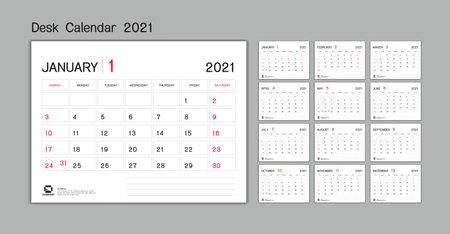 Set Desk Calendar 2021 template Vector, Week Start On Sunday, Planner, Stationery, Printing, advertisement