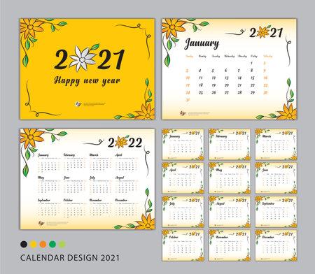 Desk Calendar 2021 template set, flower concept, Calendar 2021-2022, Happy new year 2021 year, Wall calendar 2021, Planner, Week Start On Sunday, Stationery, Printing, advertisement, Yellow cover