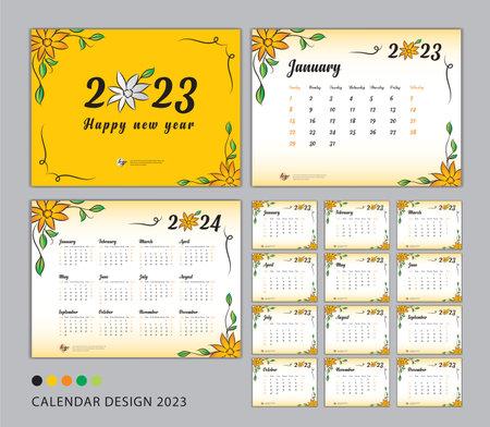 Desk Calendar 2023 template set, flower concept, Calendar 2023-2024, Happy new year 2023 year, Wall calendar 2024, Planner, Week Start On Sunday, Stationery, Printing, advertisement, Yellow cover Illustration