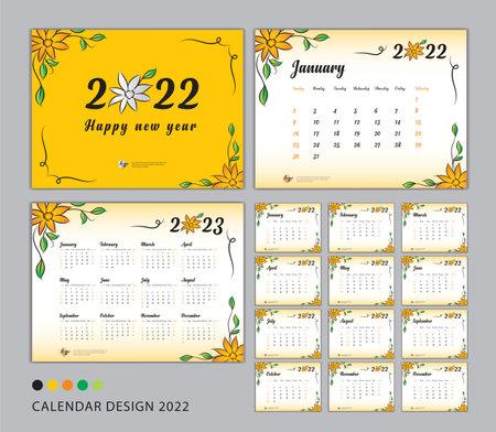 Desk Calendar 2022 template set, flower concept, Calendar 2022-2023, Happy new year 2022 year, Wall calendar 2022, Planner, Week Start On Sunday, Stationery, Printing, advertisement, Yellow cover Illustration