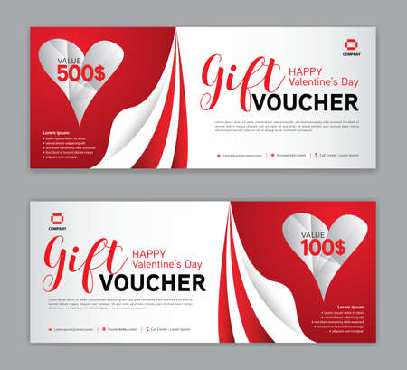 Gift Voucher template for Happy Valentine's Day, Valentines day Coupon, Sale banner, certificate, discount cards, headers, web banner, red background, Valentine's day design vector illustration EPS10