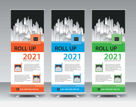 Business Roll Up, Roll Up Banner template, Sale banner stand or flag design layout, Standee Design, Presentation, Corporate roll up banner, poster, flyer, Modern Exhibition Advertising vector Illustration