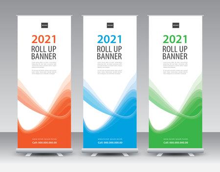 Business Roll Up banner design, Roll Up Banner template, Sale banner stand or flag design layout, Standee Design, Presentation, poster, flyer, ads, Modern Exhibition Advertising vector illustration Illustration