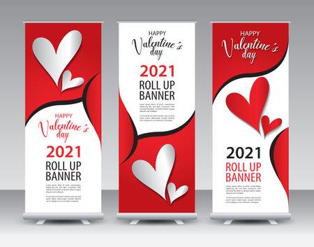 Valentine's day  Roll Up banner design, happy, valentine's day Roll Up Banner template, Valentine Sale banner stand or flag design layout, Valentines day Standee Design, Presentation, poster, vector