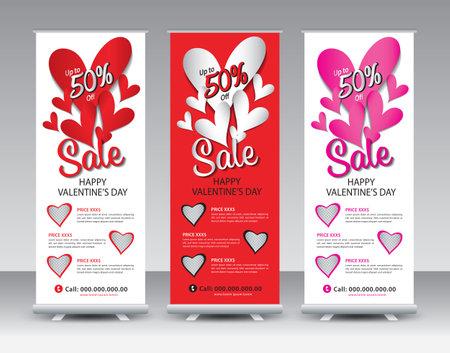 Valentine's day Sale Roll Up banner design, Happy valentine's day Roll Up Banner template, Sale banner stand or flag design layout, Standee Design, Presentation, poster, Exhibition Advertising vector Illustration