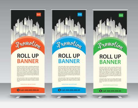 Business Roll Up banner design, Roll Up Banner template, Sale banner stand or flag design layout, Standee Design, Presentation, poster, flyer, ads, advertisement, Modern Exhibition Advertising vector Illustration