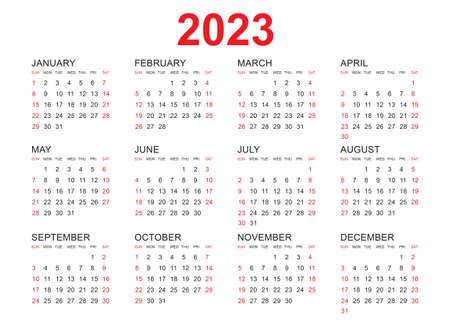 Calendar 2023 template vector, simple minimal design, Planner 2023 year, Wall calendar 2023 year, Week Starts Monday, Set of 12 calendar, advertisement, printing, stationery, organization and business.
