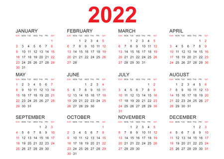 Calendar 2022 template vector, simple minimal design, Planner 2022 year, Wall calendar 2022 year, Week Starts Monday, Set of 12 calendar, advertisement, printing, stationery, organization and business.