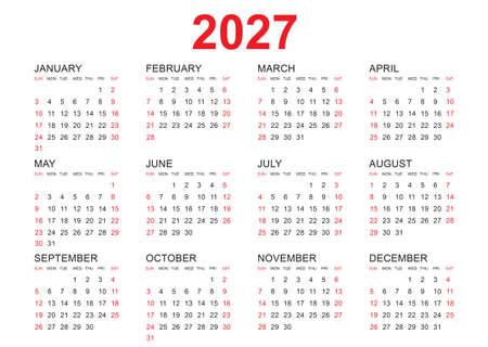 Calendar 2027 template vector, simple minimal design, Planner 2027 year, Wall calendar 2027 year, Week Starts Monday, Set of 12 calendar, advertisement, printing, stationery, organization and business. Illustration