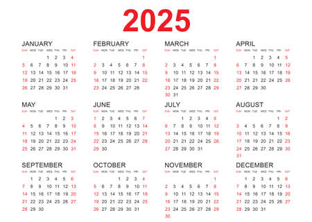 Calendar 2025 template vector, simple minimal design, Planner 2025 year, Wall calendar 2025 year, Week Starts Monday, Set of 12 calendar, advertisement, printing, stationery, organization and business.