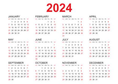 Calendar 2024 template vector, simple minimal design, Planner 2024 year, Wall calendar 2024 year, Week Starts Monday, Set of 12 calendar, advertisement, printing, stationery, organization and business.
