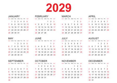Calendar 2029 template vector, simple minimal design, Planner 2029 year, Wall calendar 2029 year, Week Starts Monday, Set of 12 calendar, advertisement, printing, stationery, organization and business.