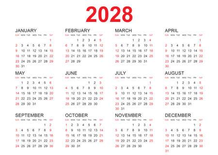 Calendar 2028 template vector, simple minimal design, Planner 2028 year, Wall calendar 2028 year, Week Starts Monday, Set of 12 calendar, advertisement, printing, stationery, organization and business.
