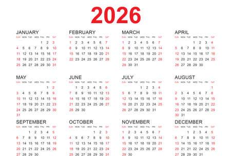 Calendar 2026 template vector, simple minimal design, Planner 2026 year, Wall calendar 2026 year, Week Starts Monday, Set of 12 calendar, advertisement, printing, stationery, organization and business.