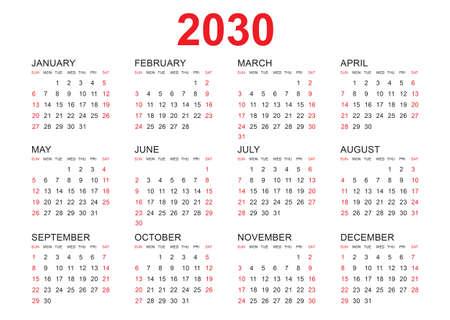 Calendar 2030 template vector, simple minimal design, Planner 2030 year, Wall calendar 2030 year, Week Starts Monday, Set of 12 calendar, advertisement, printing, stationery, organization and business.