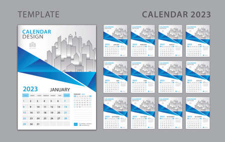 Calendar 2023 template, Set Desk Calendar design with Place for Photo and Company . Wall calendar 2023. Week Starts on Sunday. Set of 12 Months. Blue polygon background