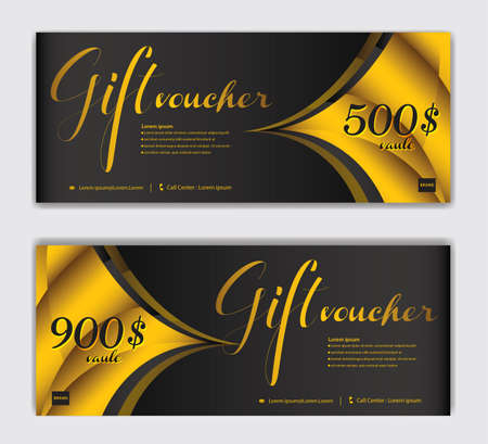 Gold Gift Voucher template luxurious concept, Elegant discount coupon or certificate layout, discount card, Sale banner, headers, banner design, gift card, promotion card, Vector Illustration EPS10
