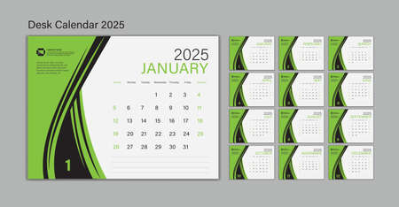 Set Desk Calendar 2025 template Vector, Planner design, wall calendar 2025 year, poster, Week Start On Sunday, Planner, Stationery, Printing, advertisement, Green background