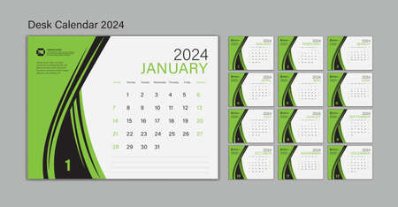 Set Desk Calendar 2024 template Vector, Planner design, wall calendar 2024 year, poster, Week Start On Sunday, Planner, Stationery, Printing, advertisement, Green background Illustration
