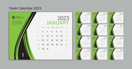 Set Desk Calendar 2023 template Vector, Planner design, wall calendar 2023 year, poster, Week Start On Sunday, Planner, Stationery, Printing, advertisement, Green background