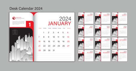 Set Desk Calendar 2024 template Vector, Planner design, wall calendar 2024 year, poster, Week Start On Sunday, Planner, Stationery, Printing, advertisement, Red background