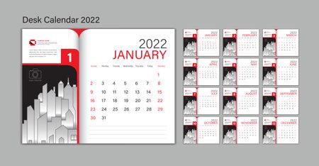 Set Desk Calendar 2022 template Vector, Planner design, wall calendar 2022 year, poster, Week Start On Sunday, Planner, Stationery, Printing, advertisement, Red background