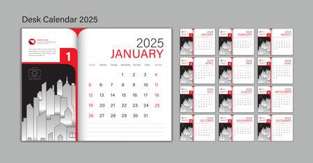 Set Desk Calendar 2025 template Vector, Planner design, wall calendar 2025 year, poster, Week Start On Sunday, Planner, Stationery, Printing, advertisement, Red background