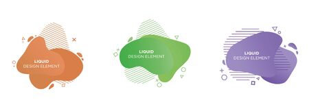 Set of 3 abstract graphic design elements in liquid shapes. Vector illustrations for poster, thumbnail, website, flyer, presentation, background and cover design, isolated on white.