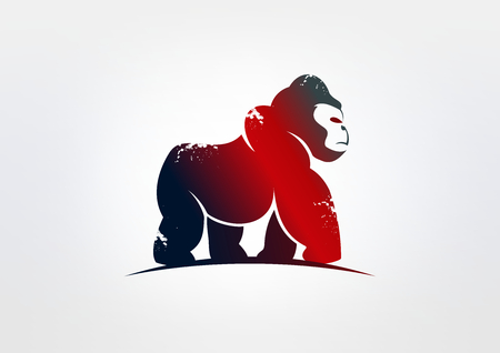 cute cartoon monkey: gorilla business logo vector