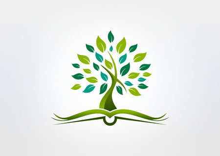 tree logo: root book cross religious logo design vector Illustration