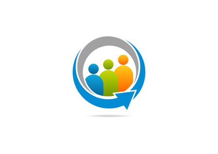 corporate social: connessione sociale crescita freccia logo vettoriale