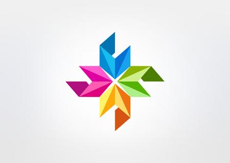 vonken, pijl, driehoek, vierkant, lint bedrijf logo vector Stock Illustratie