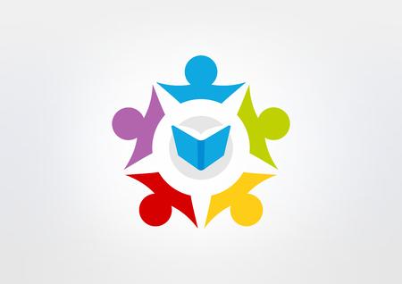 studeren samen logo ontwerp pictogram vector Stock Illustratie