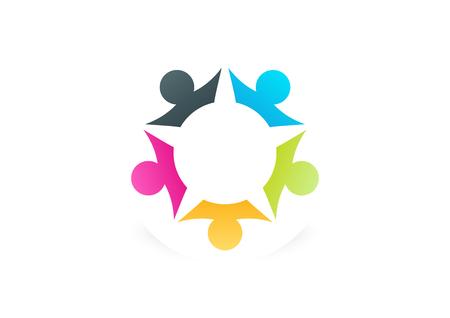 teamwork star success busines logo design vector