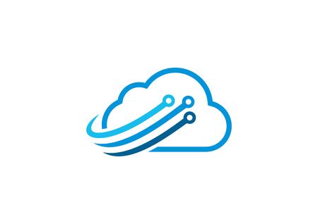 cloud technology swirl logo design