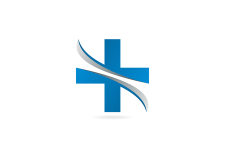 healthy exercise: cross pharmacy logo symbol design vector.